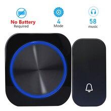 EU Plug водонепроницаемый беспроводной дверной звонок 433Mhz Home Welcome Smart Doorbell 150M Range Wireless Self Powered Welcome Door Chimes