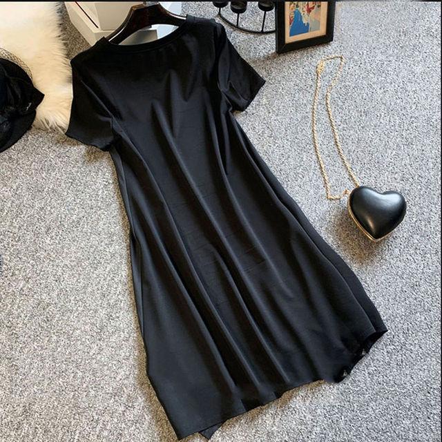 Short Sleeve Dress Women Summer Printed Black Knee Length Chic  2