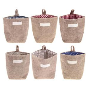 Jute Storage Bag Basket Organizer with Handles for Baby Toys With Handle Hanging In Door Or Wall Store Desktop Small Items