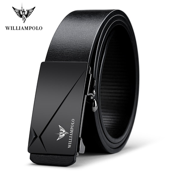 WILLIAMPOLO Cow Genuine Leather Mens Belt Cowhide Straps For Male Automatic Buckle Belts Men Alloy POLO18168P