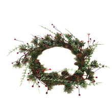 Pine Berry Wreath Floral Round Artificial Leaves Festive Atmosphere Decoration Door Hanging  for Indoor Wedding Decor S27