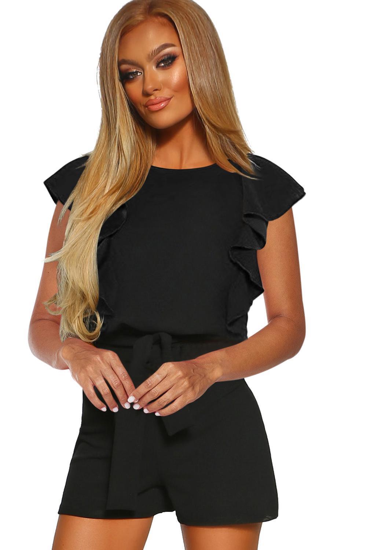 Black O Neck Short Sleeve Romper Fashion Blue/Apricot Playsuits 2020 Summer Vintage High Waist With Belt Short Jumpsuits Femme