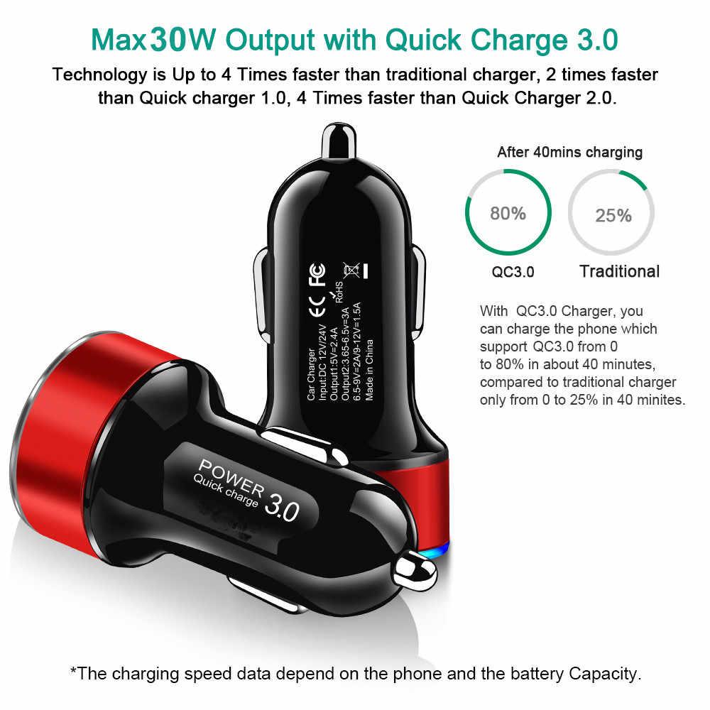 LED QC 3.0 Cepat Charge 4.0 3.0 Cepat Pengisian Telepon Mobil Charger untuk Xiaomi Mi9 Huawei P30 P20 USB Charger untuk iPhone 11X7 8 P