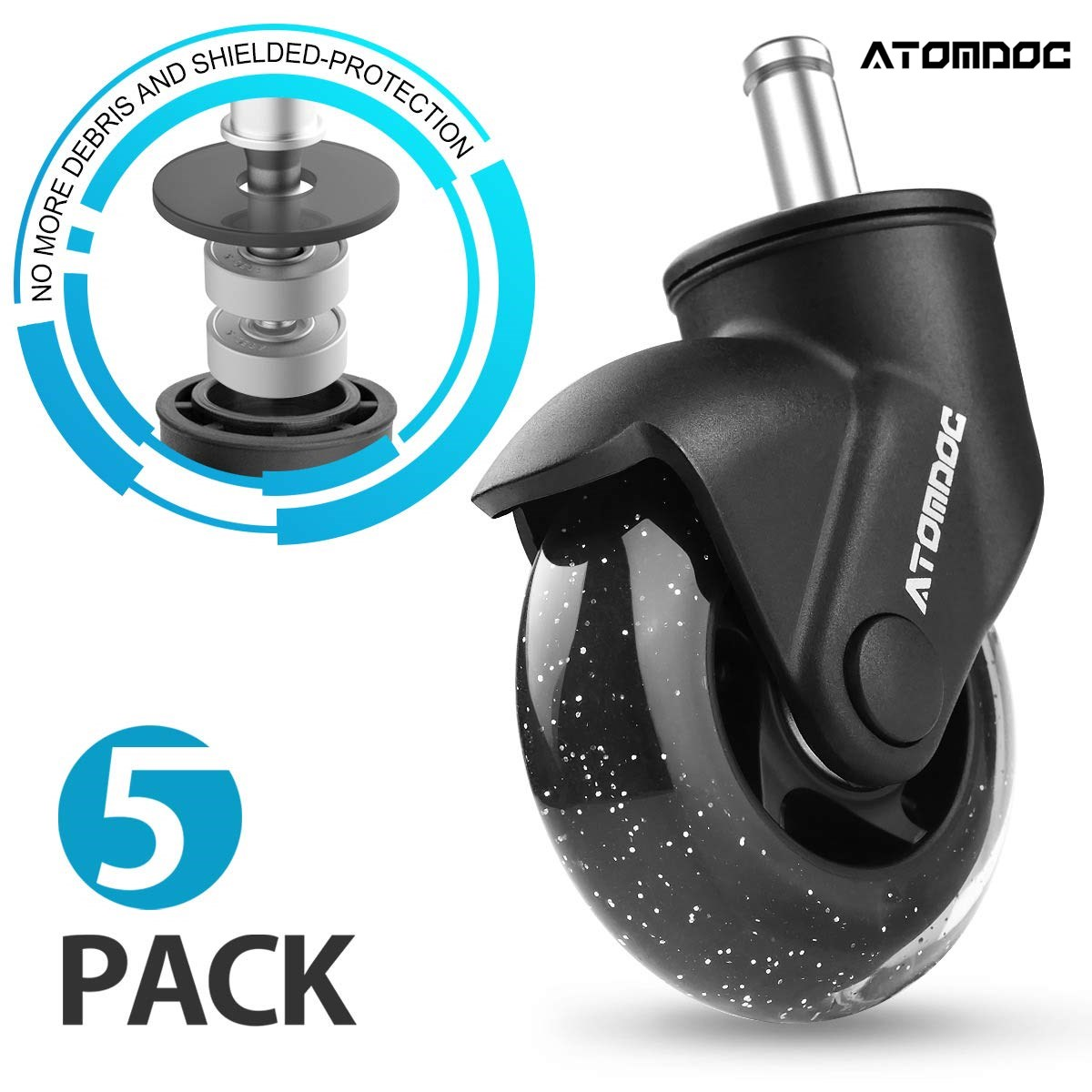 """ATOMDOC 5pcs 3"""" Universal Mute Office Chair Caster Wheels Replacement Casters Rubber Soft Safe Roller Furniture Wheel Hardware(China)"""