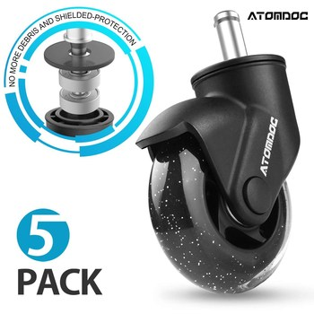 Atomdoc 5Pcs 3 Universele Mute Bureaustoel Caster Wielen Vervanging Wielen Rubber Zachte Veilige Roller Meubels Wiel Hardware