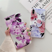 Cool Kickstand Finger holder flower mobile phone cover funda coque For Apple iPhone X xs max XR 8 plus 7 case 6 6s