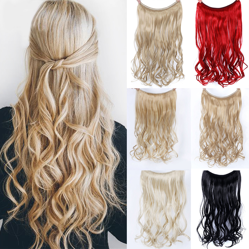 DIFEI 22 Inches Invisible Wire No Clips In Hair Extensions Secret Fish Line Hairpieces Silky Straight Real Natural Synthetic