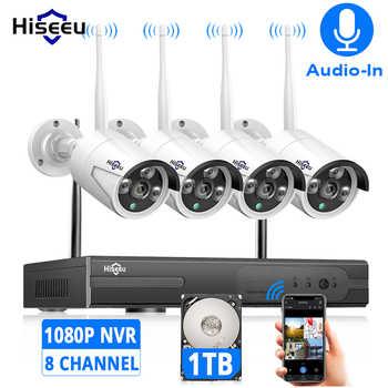 Беспроводная камера видеонаблюдения Hiseeu, 8 каналов, 1080P ТБ, 4 шт., 2 МП, NVR, Wi-Fi, IR-CUT, для улицы, IP