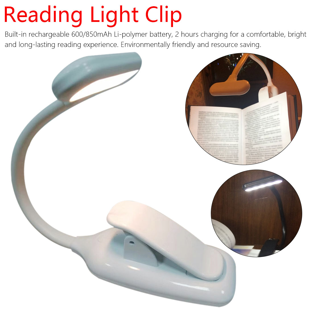 Flexible Book Lamp Dimmer Clip Table Desk Lamp Notebook Laptop PC Computers Rechargeable LED USB Book Light Reading Light
