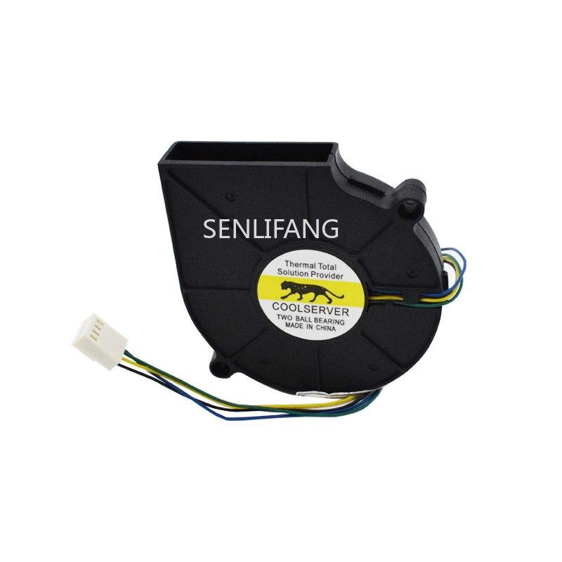For EVERFLOW COOLSERVER BB7515BU B127515BU DC 12V 0.80A 4-Wire 75X75X15mm Copper Radiator CPU Heat Sink Fan