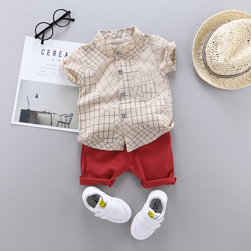Baby Boys Summer Clothing Plaid Shirt  Clothing Beach Vacation Clothes Costume Kid Fashion Set 1 2 3 4 Years