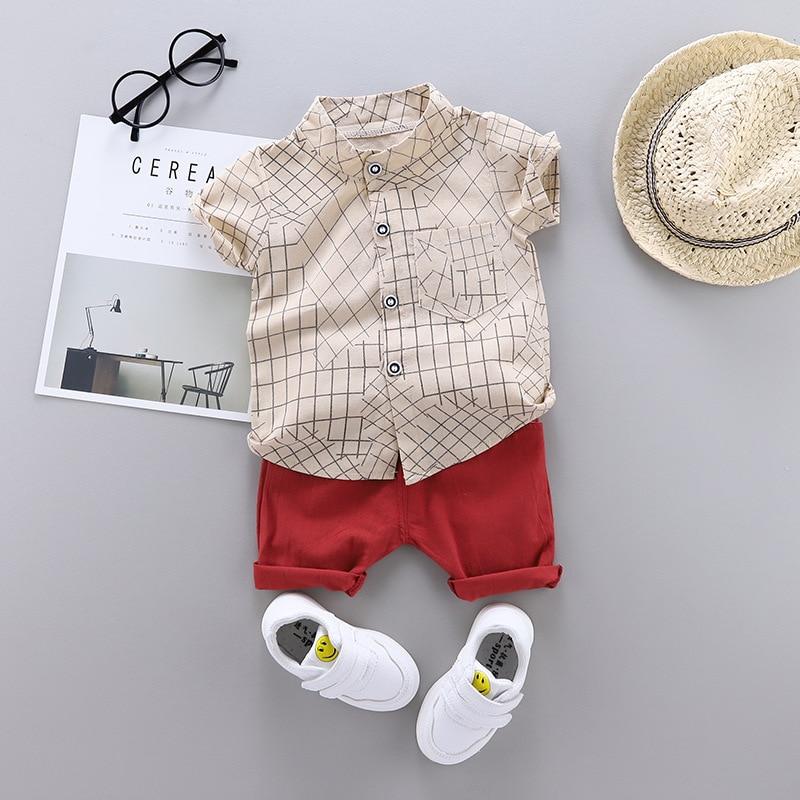 meninos do bebe roupas de verao xadrez camisa roupas praia ferias roupas traje crianca moda conjunto