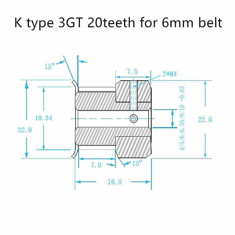 K ประเภท GT3 Timing รอก 20 ฟันเจาะ 4mm 5mm 6mm 6.35mm 8mm สำหรับความกว้าง 10 มม.3GT Synchronous เข็มขัดขนาดเล็ก backlash 20 ฟัน