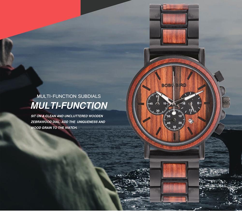 H420185c5ed2344e29b77af39b0d54e03m BOBO BIRD Wooden Watch Men erkek kol saati Luxury Stylish Wood Timepieces Chronograph Military Quartz Watches in Wood Gift Box