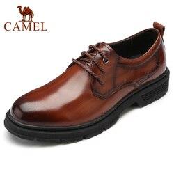 CAMELO Outono Genuínos Homens De Couro Sapatos de Vestido do Negócio Dos Homens de Meia Idade Pai Homens Sapatos Anti-slip sola de Couro Macio calçado