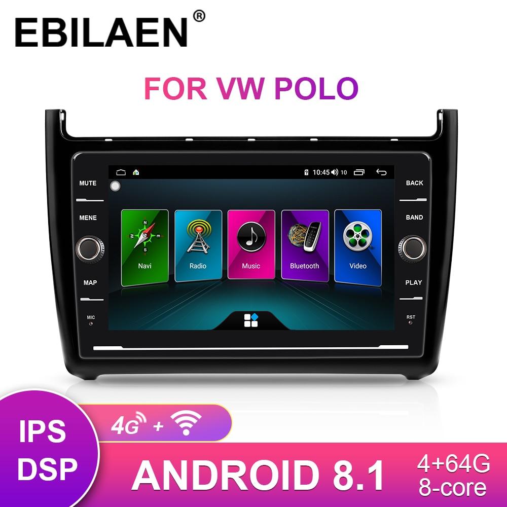 Car Multimedia Radio DVD Player For VW Volkswagen POLO Sedan 2009-2017 2Din Android 8.1 Autoradio GPS Navigation Stereo IPS RDS
