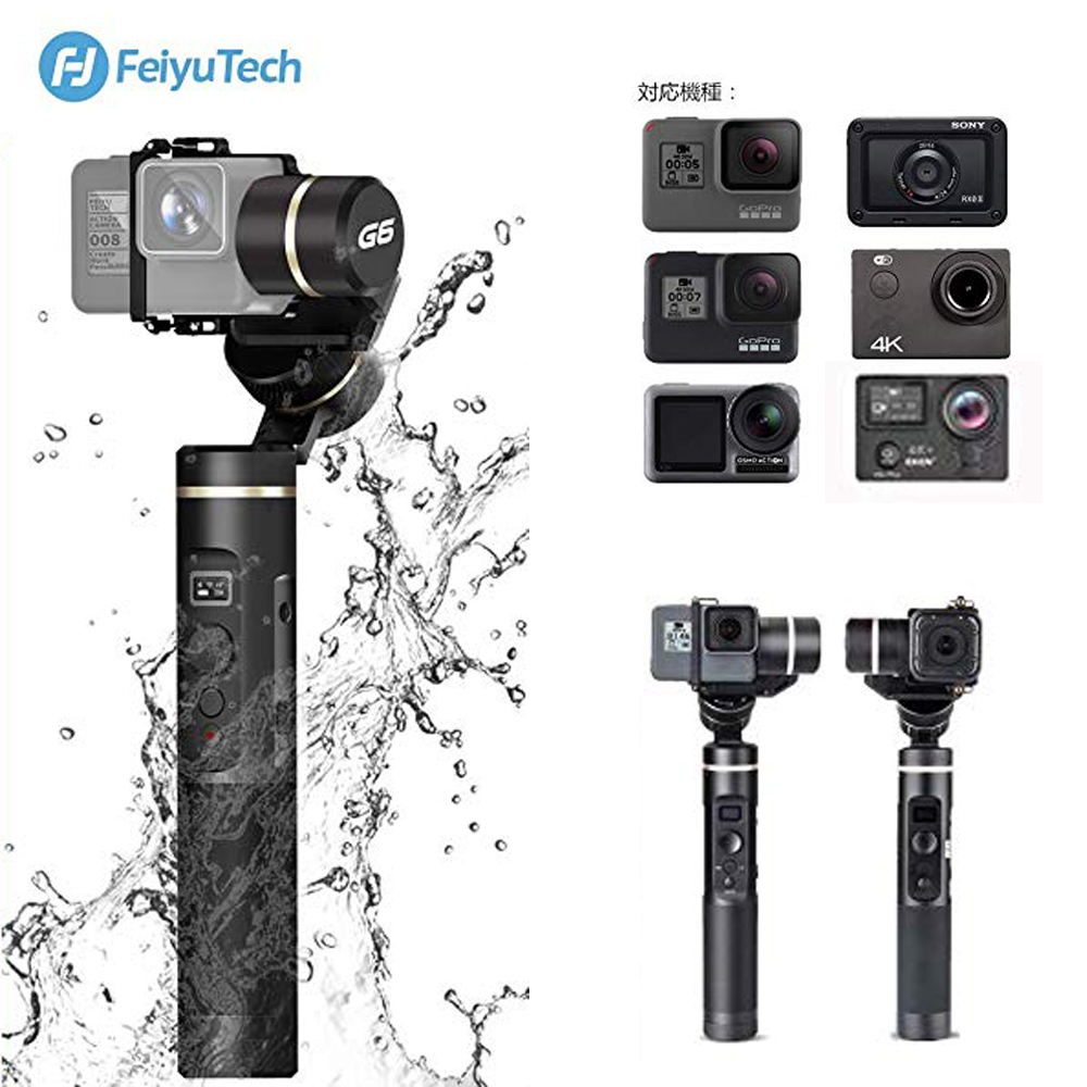 Feiyu G6 3-Axis Handheld <font><b>Gimbal</b></font> stabilizer Splash Proof for GoPro Hero 6/5/4/3/Session,Sony RX0,Yi Cam <font><b>4K</b></font>,AEE Action <font><b>Camera</b></font> RXO image