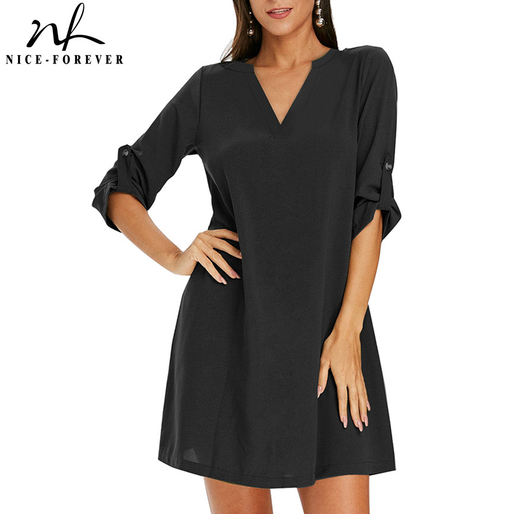 Nice-forever New Summer Casual Solid Color Dresses Women Loose Shift Dress  btyA8