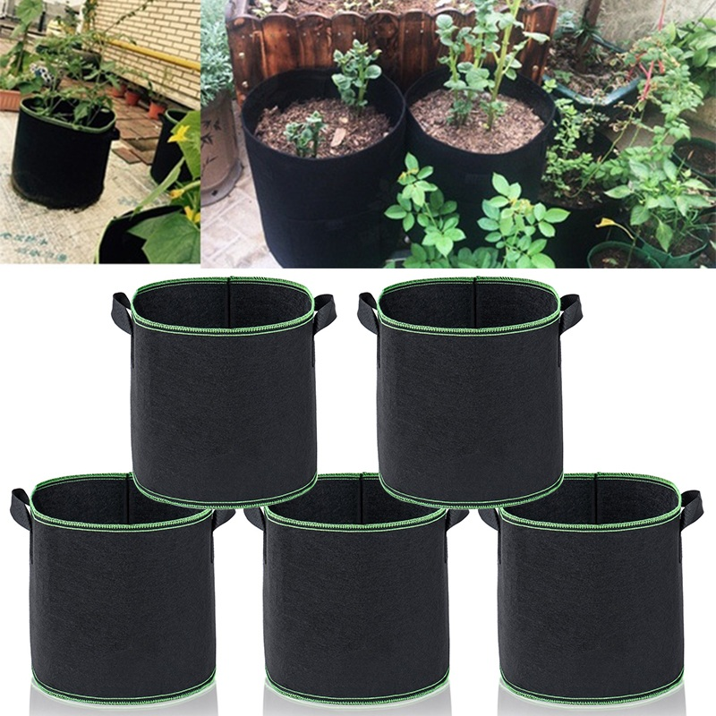 2/5 Packs Plant Grow Bags Growing Bags Non-woven Fabric Aeration Pots With Handle Root Container 1/2/3/5/7/10/15/20/25 Gallons