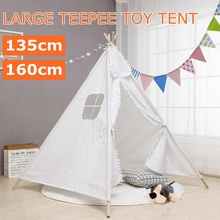160/135cm Tipi tent for kids Play-Tent Teepee House Wigwam Room Children's Tent Game-House Triangle Teepee Canvas Sleeping Dome