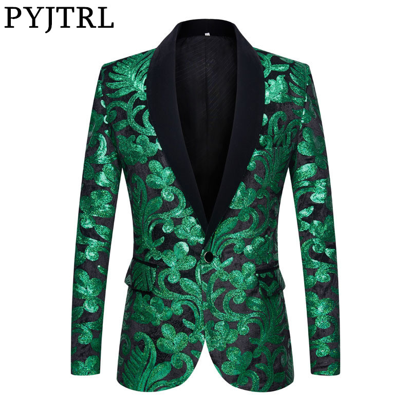 PYJTRL Sequins Velvet Series Men Stylish Blazers Green Black Velvet Floral Sequins Suit Jacket Wedding Prom Singers Slim Costume