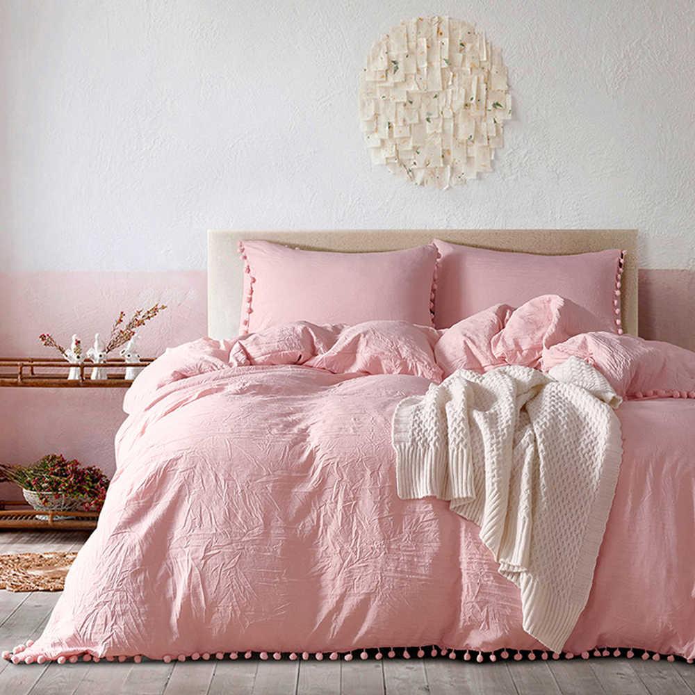 Yimeis ベッドリネンセット無地羽毛布団とリネンセット洗浄綿クイーンサイズのベッドシーツセット BE47025