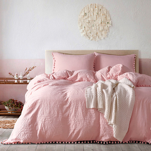 Image 1 - Yimeis Bed Linen Set Solid Color Duvets And Linen sets Washed Cotton Queen Size Bed Sheets Set  BE47025
