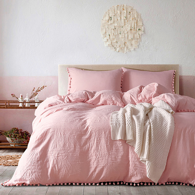 Yimeis Bed Linen Set Solid Color Duvets And Linen sets Washed Cotton Queen Size Bed Sheets Set  BE47025