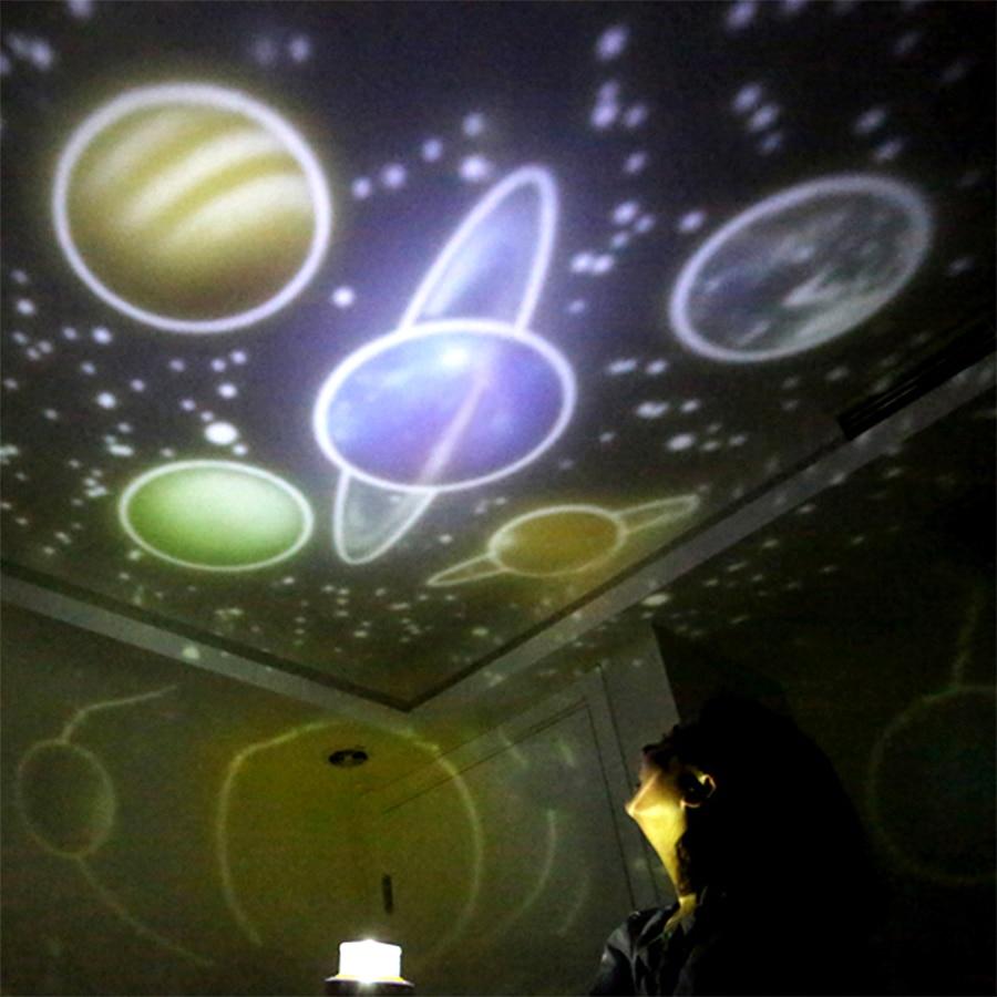 Proyector de cielo estrellado para niños, juguete de planeta mágico, lámpara LED del universo de la tierra, Estrella intermitente giratoria colorida, regalo de Navidad para bebés