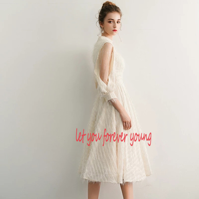 2021 New Elegant Champagne Long Evening Dresses V-Neck A-Line Floor Length Lace Prom Dresses Robe De Soiree Party Dress LYFY15 3