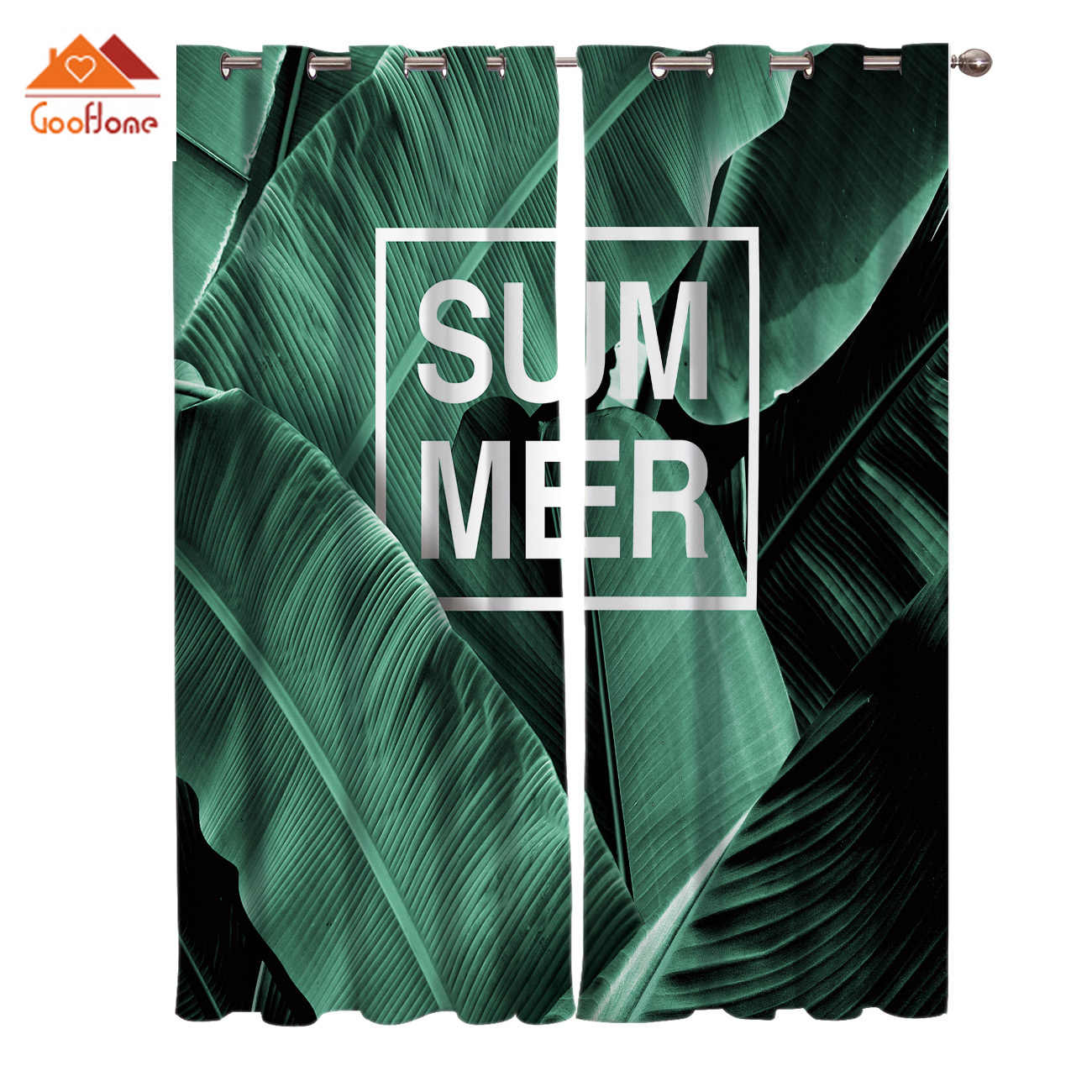 Banana Leaf Tropical Plants Window Curtains Living Room Outdoor Fabric Drapes Curtain Home Decor