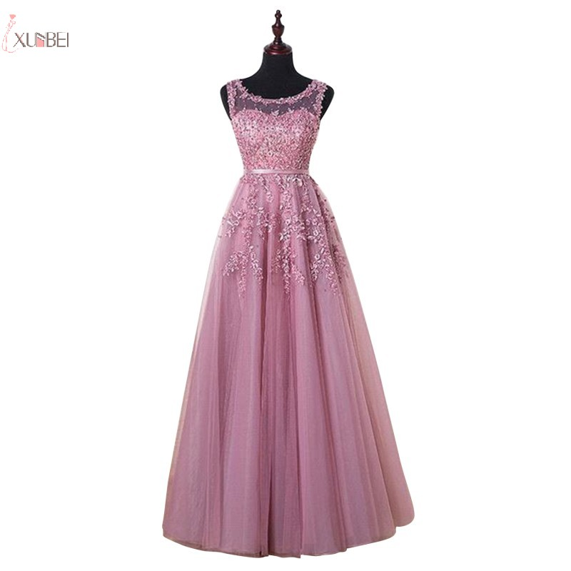 Xunbei Tulle Evening Dress 2019 Elegant Long Dusty Pink Formal Gown 2020 A line Lace Applique Sleeveless robe de soiree