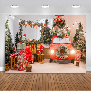 Hot Sale Free Shiping Photography Backdrop Photocall Christmas Tree Red Car Party Decoration Background For Photo Studio Christmas Tree Back Drop