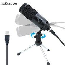 Microphone professionnel à condensateur USB avec support, pour enregistrement, PC, ordinateur portable, YouTube, Chat, vidéo, jeu, Podcast, Studio