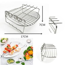 Stainless Steel Barbecue Grill Steaming Rack 2in1 Double Layer 4 Baking Pins Grill Cookware High Quality Kitchen Accessories