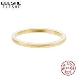 ELESHE 2020 mode 18K plaqué or Simple pièce anneau réel 925 en argent Sterling fête datant de beaux bijoux cadeau pour les femmes