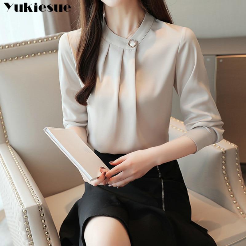 fashion womens tops and blouses stand collar office blouse women chiffon blouse shirt female long sleeve women shirts blusas 4