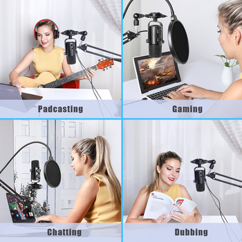 MAONO AU-902S USB Microphone Gaming Live Broadcast Singing Studio Condenser Mic With Arm Stand for PC Phone Youtube Tiktok Skype 2