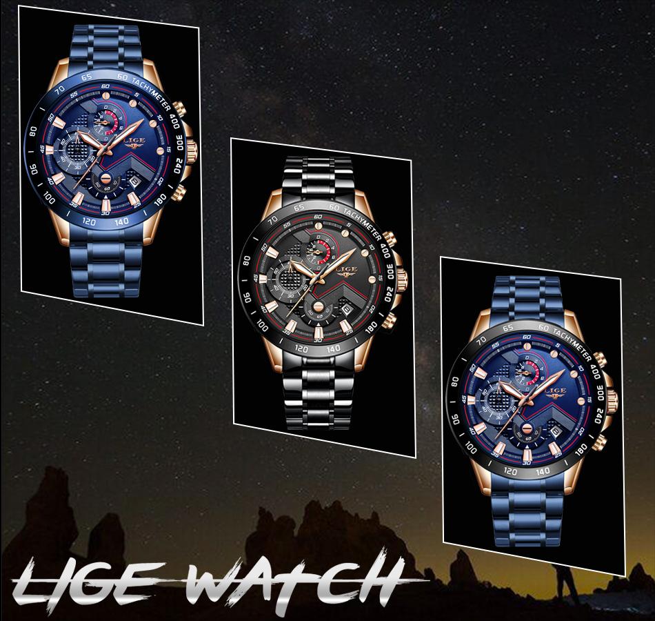 LIGE 2020 nuevos relojes de moda para hombre con Acero Inoxidable marca superior de lujo deportes cronógrafo reloj de cuarzo hombres Relogio Masculino 10