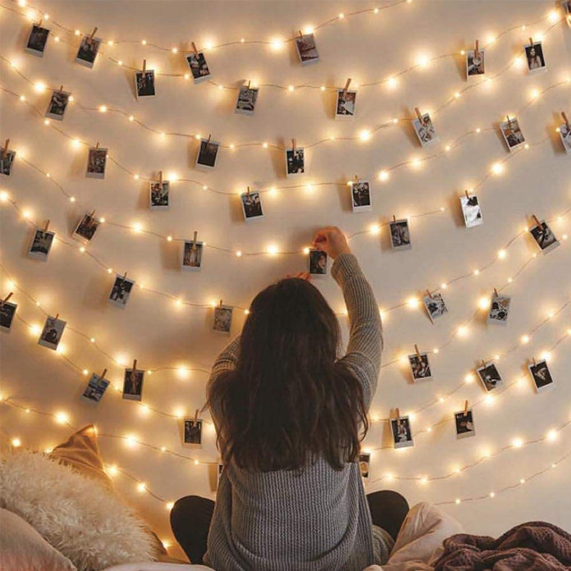 2m/5m/10m Photo Clip String Lights Led Usb Outdoor Battery Operated Garland With Clothespins For Home Decoration String Lights 2