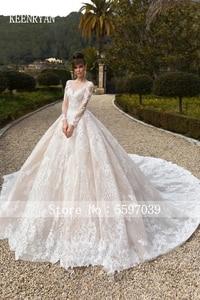 Image 4 - Vestido De Novia Luxury Lace Wedding Dress 2020 Long Sleeve Gorgeous Scoop Robe De Mariee Plus Size Chaple Train Wedding Gowns