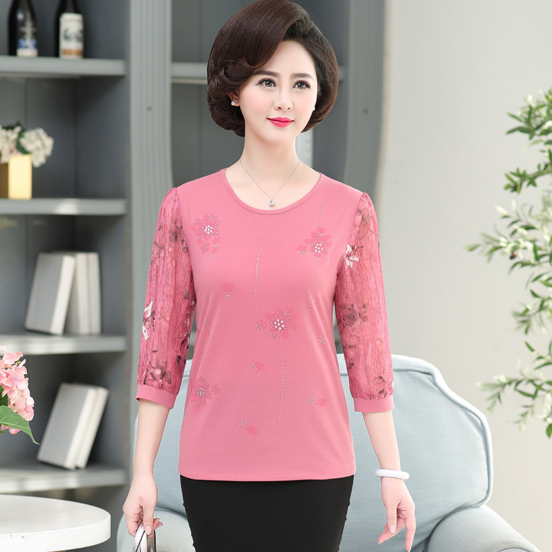 Mother's Female Lady Middle Age Gauze Chiffon Thin Lace Half Sleeve Top Women's Spring Autumn Bottoming Shirts T-shirt Pullover
