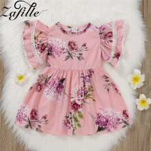 ZAFILLE Short Sleeve Baby Girl Dress Floral Clothing Summer Cotton Clothes Toddler Kids Casual Girls