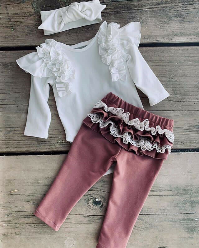 Infant Baby Girl Casual Fashion Clothes Long Ruffle Sleeve O-neck Romper Lace Long Pants Leggings Headband Cotton Outfit Autumn