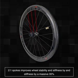 Image 4 - Ruote in carbonio Elite 700c per bici da strada 3k Twill UCI cerchio in carbonio di qualità Tubeless Ready Sapim blocco sicuro nipplo set di ruote per ciclismo su strada