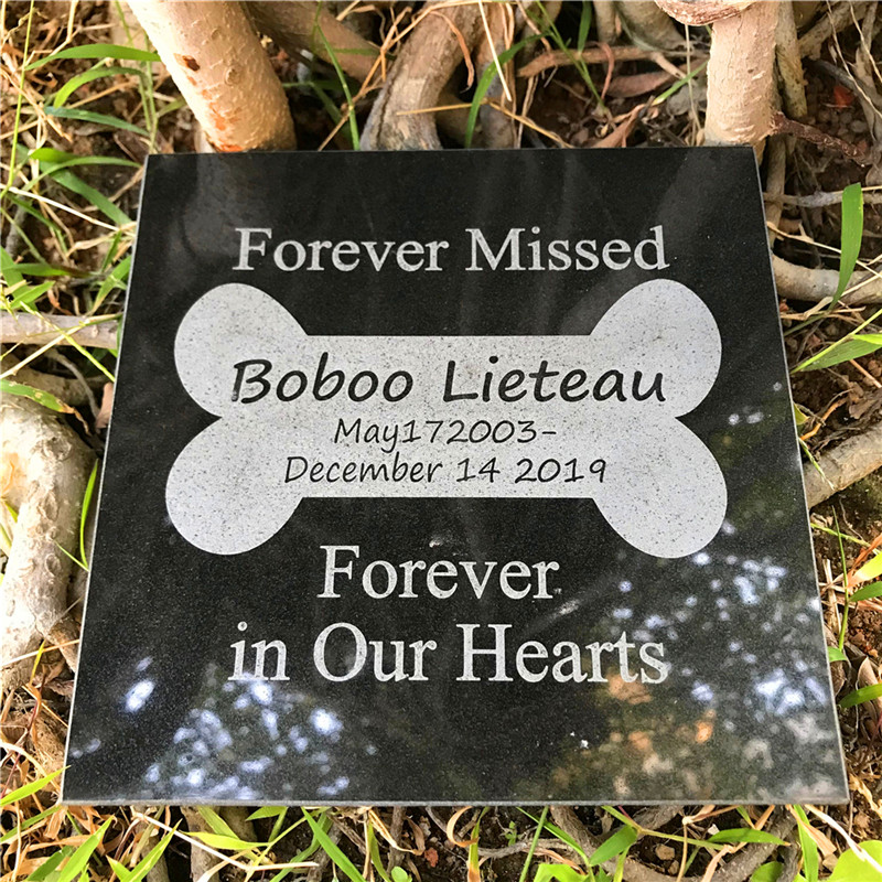 Granite  Personalized Pet Memorial Stones for Garden,Backyard,Lawn,Pet Grave Markers for Dogs or Cats  5