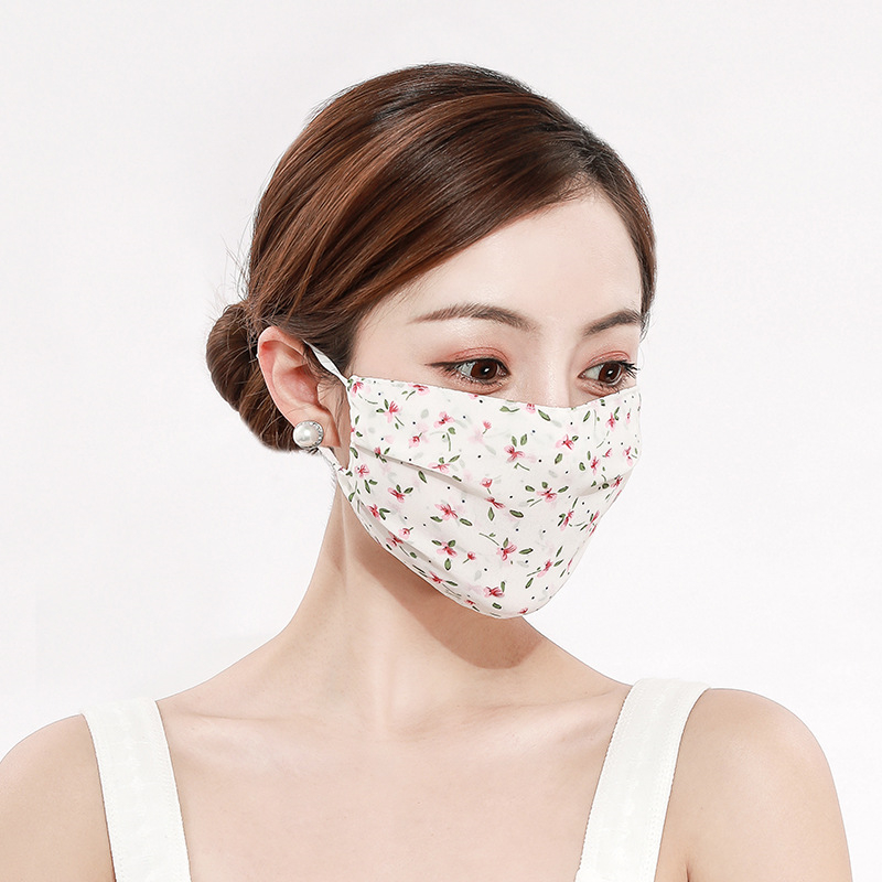 2pcs Fashion Print Chiffon Mouth Mask Reusable Breathable Protective Face Cover Dust Face Mask Bacteria Proof Flu Mouth Muffle