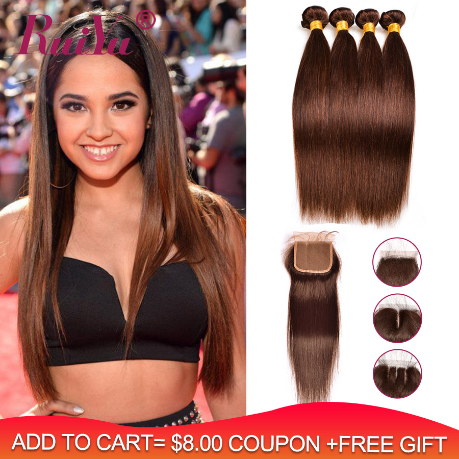 Pre-Colored Dark/Light Brown Bundles With Closure Brazilian Straight Human Hair Bundles With Closure RUIYU Non Remy Hair
