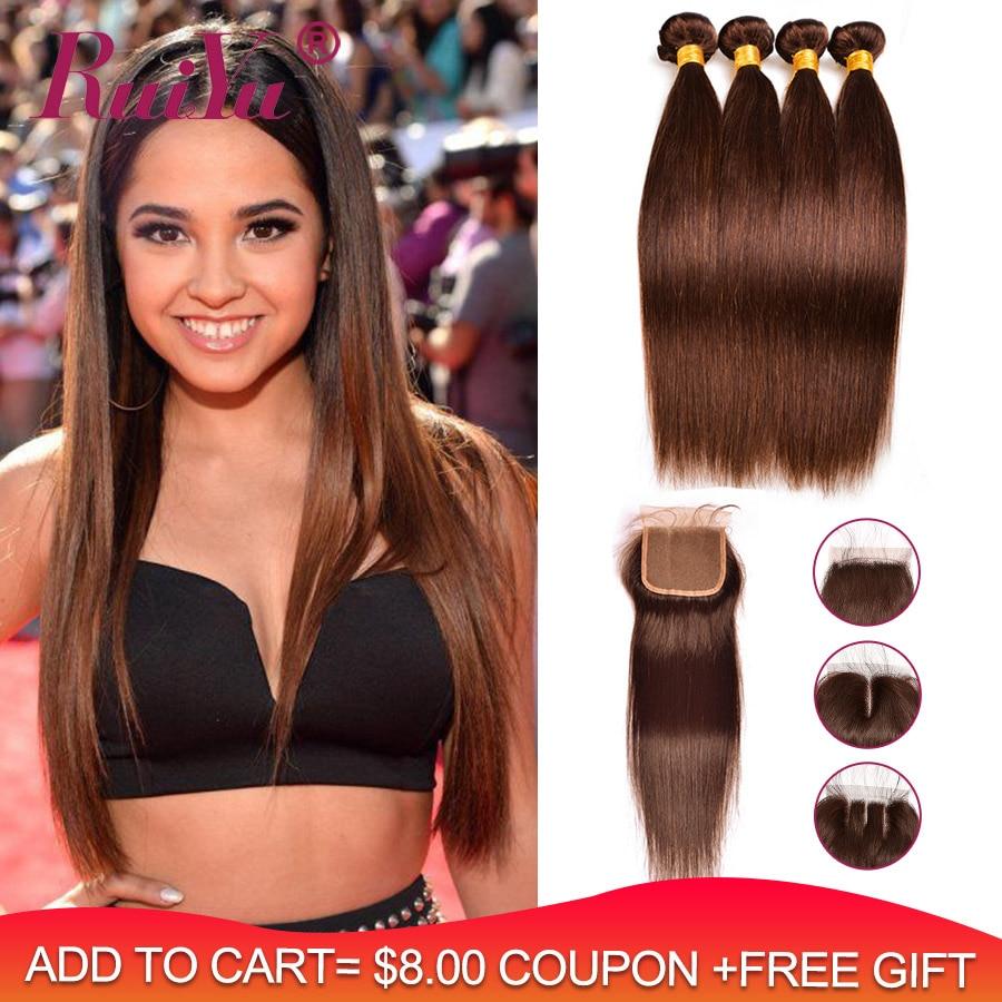 Pre-Colored Dark/Light Brown Bundles With Closure Brazilian Straight Human Hair Bundles With Closure RUIYU Non Remy Hair