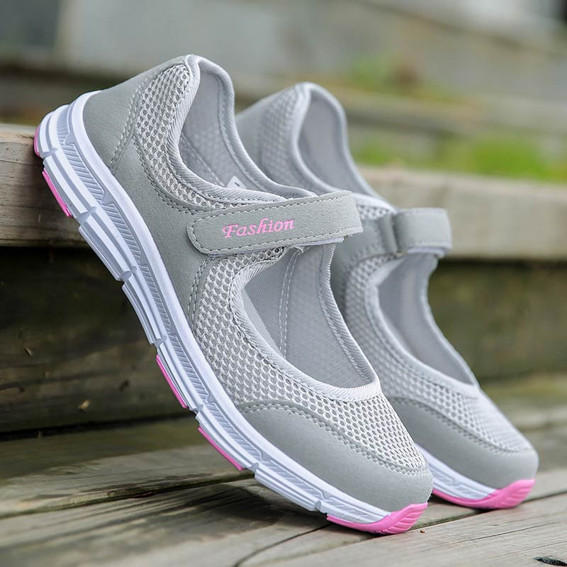 Breathable Mesh Women Sneakers Casuals Shoes Woman 2019 Flat With Hook & Loop Solid Sneakers Women Shoes Zapatos De Mujer